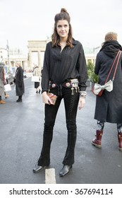 Marie Nasemann is pictured during the Mercedes-Benz Fashion Week Berlin Autumn/Winter 2016 at Brandenburg Gate in Berlin, Germany on January 21, 2016.