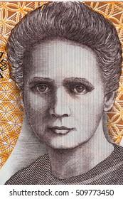 Marie Sklodowska Curie portrait from old twenty thousand zloty