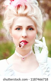Marie-Antoinette cosplay, historic, vintage, portrait photosession. The portrait of the queen. Beauty portrait of a young woman, actress.