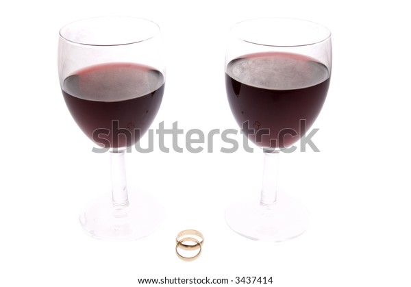 Maried ring with red wine