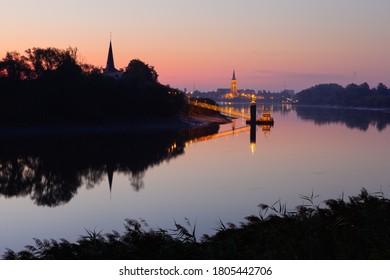 Mariekerke and Sint-Amands at the river Schelde at sunrise, Mariekerke, Flanders, Belgium