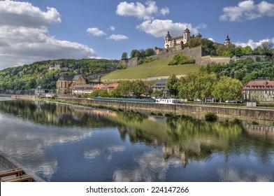Marienberg Castle across the Main river in Wurzburg, Germany