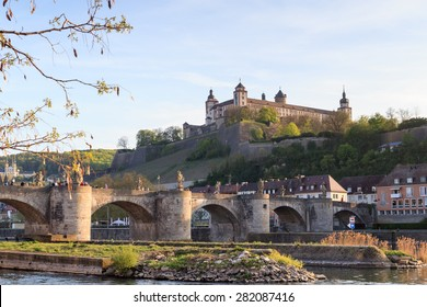Marienberg Fortress and Alte Mainbrucke in Wurzburg, Germany