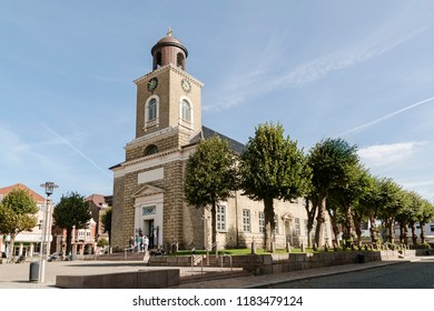 Marienkirche (St. Mary's Church) in the old town of Husum, the capital of Nordfriesland and birthplace of German writer Theodor Storm, in Schleswig-Holstein, Germany, copy space