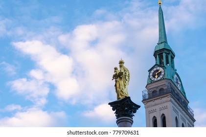 Marienplatz, the famous destination in munich Germany. vintage tone