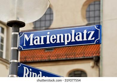 Marienplatz - sign of the main square in Munich