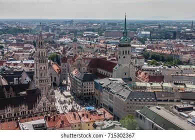 Marienplatz and St. Peter Church , a view from Frauenkirche, Munich, Bavaria