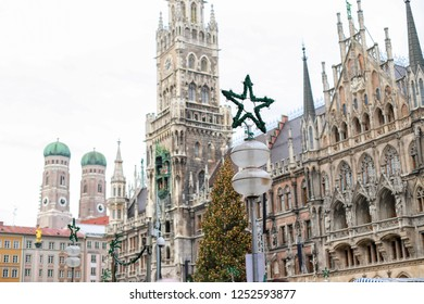 Marienplatz town hall of Munich city Germany in the winter time with Christmas tree