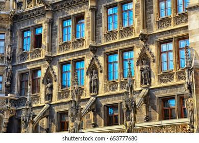 Marienplatz town hall rathaus and column in Munich