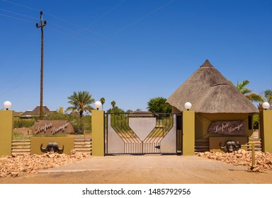 Mariental, Namibia - March 25, 2019 : Entry gate to the Lapa Lange Game Lodge in Southern Namibia, offering tourists abundant animal and bird life in the Kalahari Desert.