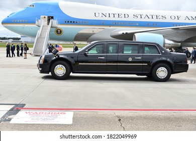 MARIETTA, GA- SEPTEMBER 25, 2020: President Trump arrives at Dobbins Air Reserve Base with the presidential limousine moving into position.