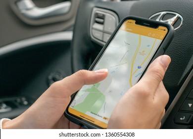Marietta, GA / USA - April 4 2019: Here Comes the Bus tracking app