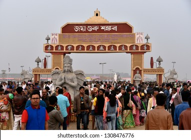 Marigaon, Assam, India. 8 Feb. 2019. Devotees throng in the entrance gate during 88th session of Srimanta Sankardev Sangha Adhibeshan in Marigaon.