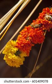 Marigold decorations on Shiva temple, Kerala, India