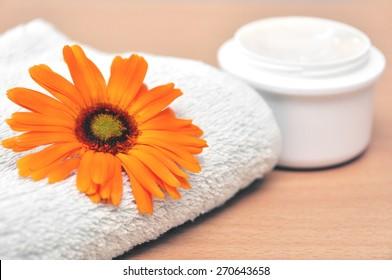 Marigold flower cosmetics