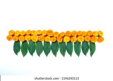 Marigold Flower rangoli Design for Diwali Festival , Indian Festival flower decoration