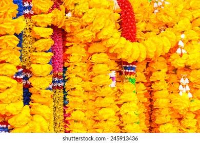 marigold flowers garland texture background