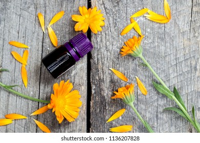 marigold oil and marigold flowers on wooden background