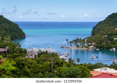 MARIGOT BAY, ST LUCIA,WEST INDIESW-13th SEPTEMBER 2017:-A colourful fishing village on the west coast of St Lucia