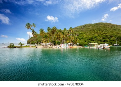 Marigot Exotic Bay, Saint Lucia, Caribbean. Marigot Bay is located on the west coast of the Caribbean island of St Lucia.