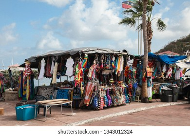 MARIGOT, SINT MAARTEN - JULY 31, 2015: Tent with gifts and souvenirs for tourist on Fish Market area in Marigot, seen in Marigot.