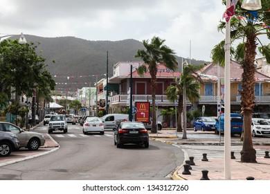 MARIGOT, SINT  MAARTEN - JULY 31, 2015: Busy street near Fish market area in french part island in town Marigot.