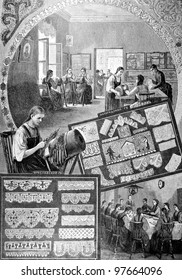 """Mariinsky lace School. Engraving by Zemtsov Baranowski from picture by painter . Published in magazine """"Niva"""", publishing house A.F. Marx, St. Petersburg, Russia, 1888"""