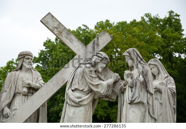 Marija Bistrica, Croatia - May 1, 2015: 4th Station of the Cross, Jesus meets His Mother, pilgrimage Sanctuary.