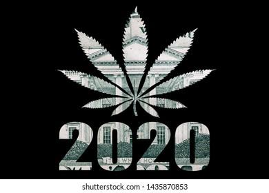 Marijuana 2020, Text and Pot Leaf, Photo of United States Money on Black Background