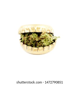 Marijuana and Alcohol Concept, Cannabis Bud on White Background.