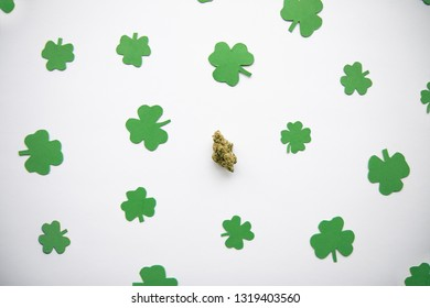 Marijuana Bud against Four and Three Leaf Clovers St Patricks St Pattys Day - Top Down, Centered