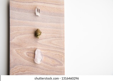 Marijuana Bud and Crystals on a Desert Stone, Close Up - Minimalist Cannabis