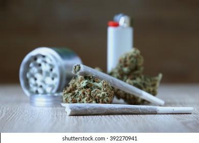 Marijuana Bud With Joints