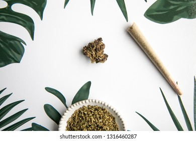 Marijuana Bud and Slanted Joint Sit on Tropical Foliage Background - Minimalist Cannabis