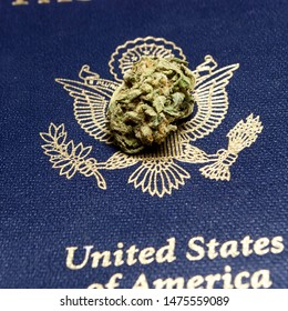 Marijuana Bud and United States Passport. Legal Cannabis in America.
