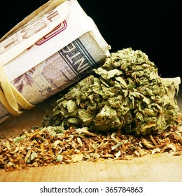 Marijuana Buds and American and Foreign Money