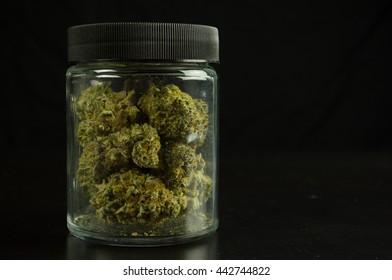 Marijuana Buds Closed Jar