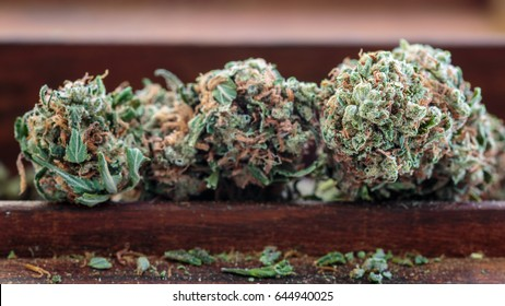 Marijuana buds into a wooden box. Cannabis background