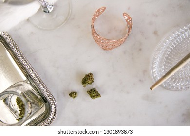 Marijuana Buds, Joint and Jar on Marble Vanity Luxury Cannabis
