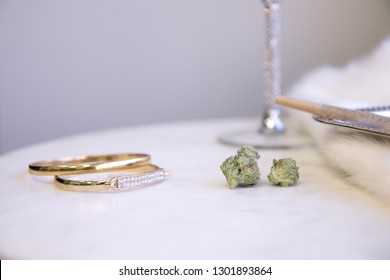 Marijuana Buds and Joint on Marble Vanity Luxury Cannabis