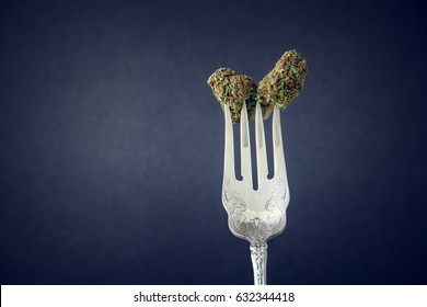 Marijuana Buds On A Vintage Silver Fork On Low Key Dark Background. Selective Focus With Copy Space.