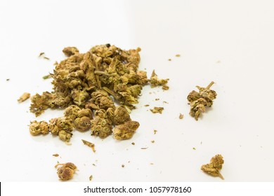 marijuana buds on a white background
