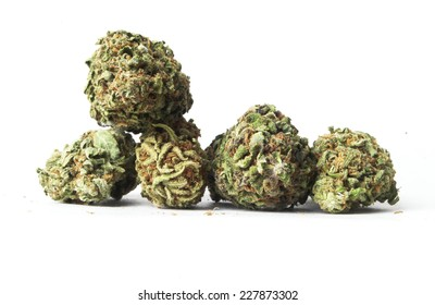 Marijuana Buds on White Background.