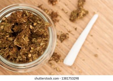 Marijuana buds/cannabis and joints/marijuana cigarettes.