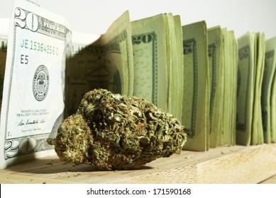 Marijuana and Cannabis Bud and Money