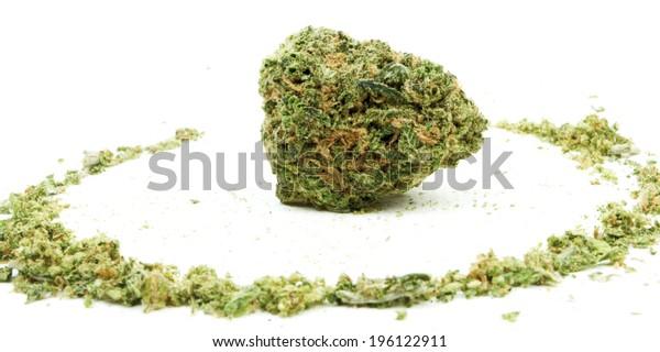 Marijuana and Cannabis Bud on White.