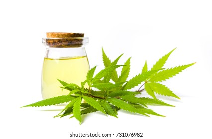Marijuana and cannabis oil bottle isolated on white