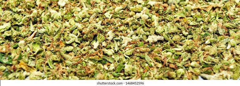 Marijuana and Cannabis Shake. Broken up Dried Weed and Pot Bud. Tight Crop, Panorama.