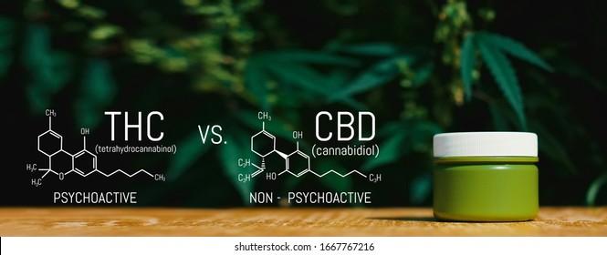 Marijuana CBD Vs THC Poster with Scientific Formula, CBD Elements and THC in Marijuana and Medical Health, Cannabis Industry, Growing Hemp, Pharmacy Business