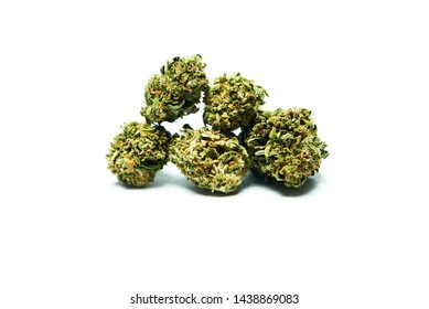 Marijuana, Dried Cannabis Buds on White Background